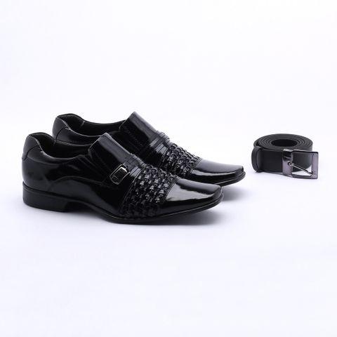 Sapato Social Rafarillo Las Vegas Couro + Cinto Preto Masculino